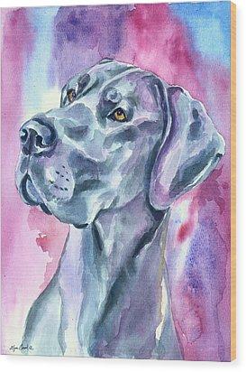 Blue Mood - Great Dane Wood Print