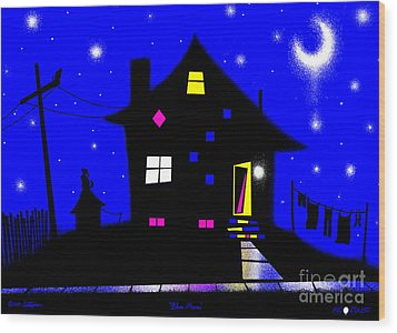 Blue Moon Wood Print by Cristophers Dream Artistry