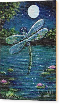 Blue Moon Dragonfly Wood Print