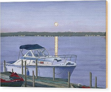 Wood Print featuring the painting Blue Moon by Lynne Reichhart