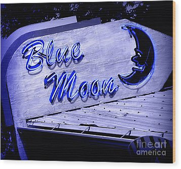 Blue Moon Wood Print by Perry Webster