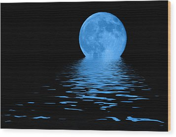 Blue Moon Wood Print by Shane Bechler