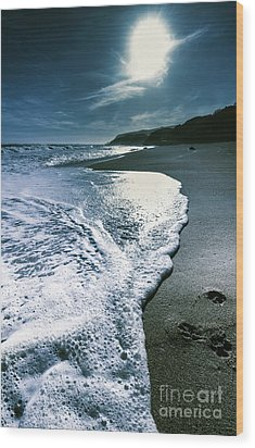 Wood Print featuring the photograph Blue Moonlight Beach Landscape by Jorgo Photography - Wall Art Gallery