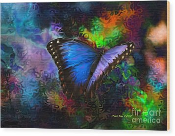 Blue Morpho Butterfly Wood Print by Annie Zeno
