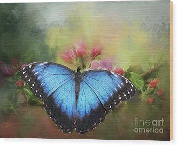 Blue Morpho On A Blossom Wood Print