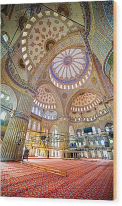 Blue Mosque Interior Wood Print