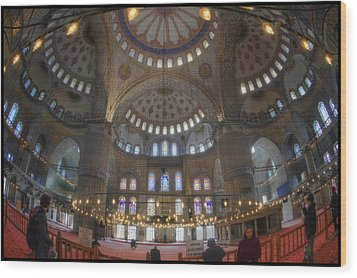 Blue Mosque Interior Wood Print by Joan Carroll