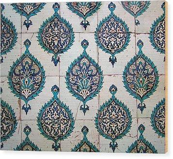 Blue Mosque Tiles Wood Print