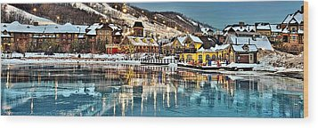 Blue Mountain Ice Reflection Wood Print