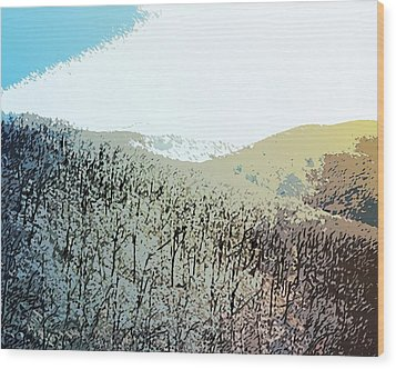 Blue Mountain Scrub Wood Print by Susan  Epps Oliver