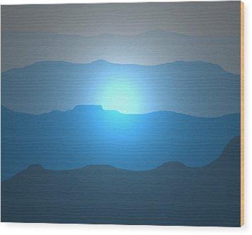 Blue Mountain Sun Wood Print