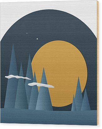 Wood Print featuring the mixed media Blue Mountain Sunset by Frank Tschakert