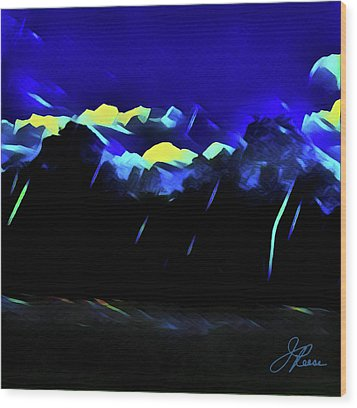 Wood Print featuring the painting Blue Mountains by Joan Reese