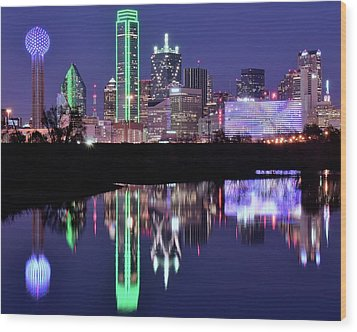 Wood Print featuring the photograph Blue Night And Reflections In Dallas by Frozen in Time Fine Art Photography