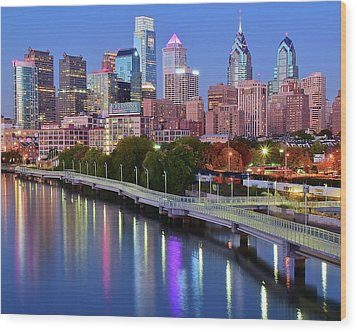 Wood Print featuring the photograph Blue Night Lights In Philly by Frozen in Time Fine Art Photography