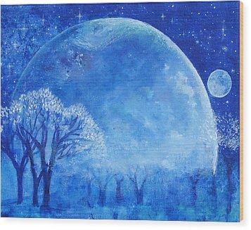 Blue Night Moon Wood Print by Ashleigh Dyan Bayer