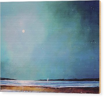 Blue Night Sky Wood Print by Toni Grote