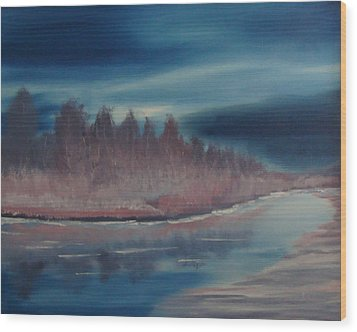 Wood Print featuring the painting Blue Nightfall Evening by Rod Jellison