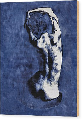 Blue Nude After Picasso Wood Print by Joe Bonita