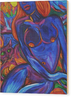 Wood Print featuring the painting Blue Nude And Pink Puss by Dianne  Connolly