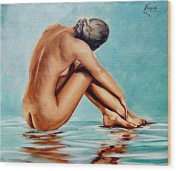 Blue Nude Wood Print