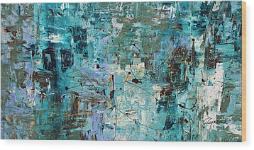 Wood Print featuring the painting Blue Ocean - Abstract Art by Carmen Guedez