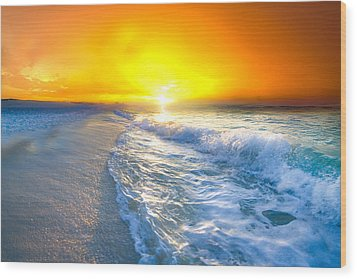 Wood Print featuring the photograph Blue Ocean Landscape Wave Photography Red Surise by Eszra Tanner