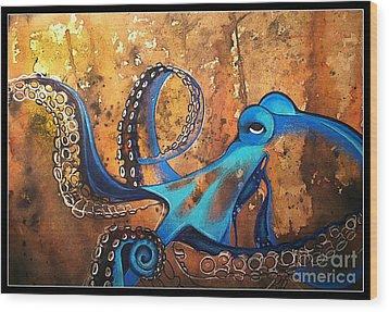 Blue Octopus Wood Print by Elizabeth Dixon