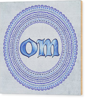 Wood Print featuring the painting Blue Om Mandala by Tammy Wetzel