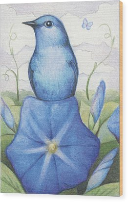 Blue On Blue Wood Print by Amy S Turner