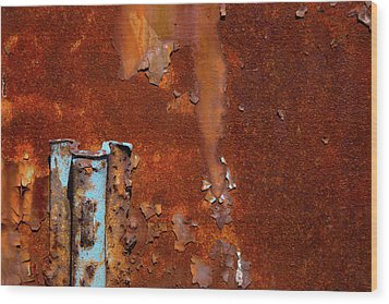 Wood Print featuring the photograph Blue On Rust by Karol Livote