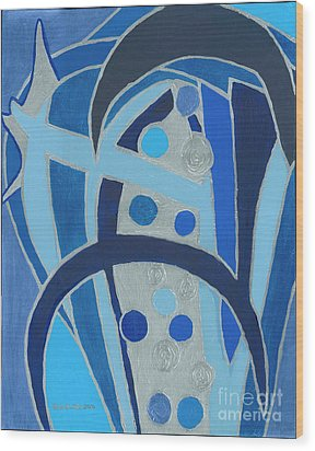 Wood Print featuring the painting Blue On Silver by Ania M Milo