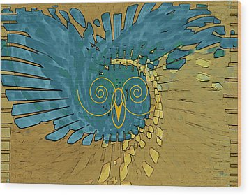 Abstract Blue Owl Wood Print by Ben and Raisa Gertsberg