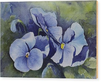 Blue Pansies Wood Print by Kathy Nesseth