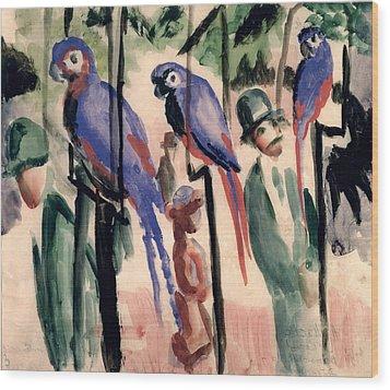 Blue Parrots Wood Print by August Macke