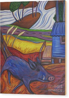 Blue Pig By Blue Hut Wood Print
