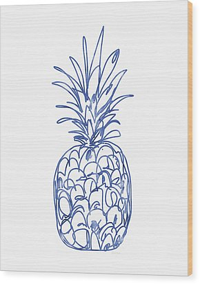 Blue Pineapple- Art By Linda Woods Wood Print