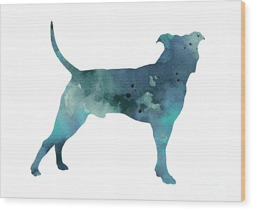 Blue Pit Bull Watercolor Art Print Painting Wood Print by Joanna Szmerdt