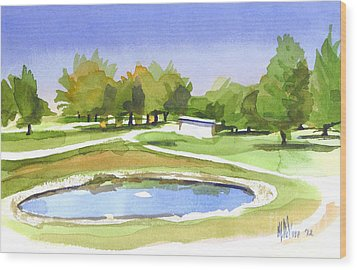 Wood Print featuring the painting Blue Pond At The A V Country Club by Kip DeVore