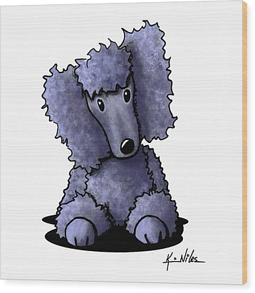 Blue Poodle Wood Print by Kim Niles