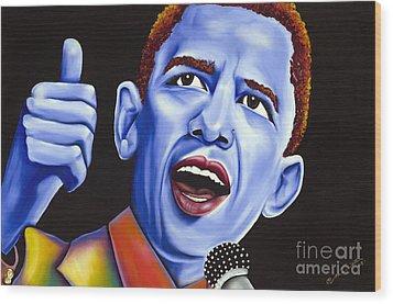 Blue Pop President Barack Obama Wood Print by Nannette Harris