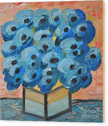 Blue Poppies In Square Vase  Wood Print by Ramona Matei