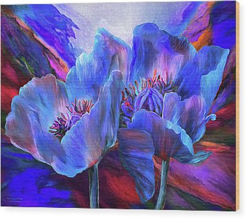Wood Print featuring the mixed media Blue Poppies On Red by Carol Cavalaris
