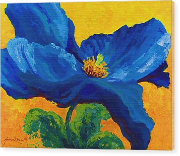 Blue Poppy Wood Print by Marion Rose