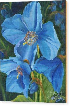 Blue Poppy Wood Print by Renate Nadi Wesley