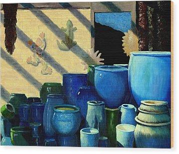 Blue Pots Wood Print
