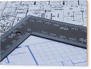 Blue Prints And Ruler Wood Print by Blink Images