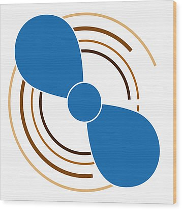 Blue Propeller Wood Print by Frank Tschakert