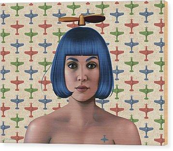 Blue Propeller Gal Wood Print
