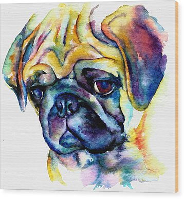 Blue Pug Wood Print by Christy  Freeman
